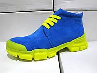 Женские замшевые ботинки синие, электрик демисезонные 36 - 41 размеры