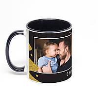 Печать фото на черной чашке с черной ручкой (черная внутри)