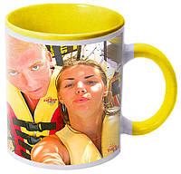 Печать фото на желтой чашке с желтой ручкой (желтая внутри)