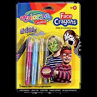 Карандаши мелки для лица Colorino 5 цветов металлик в упаковке не пачкают руки детская косметика