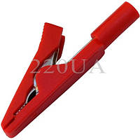 Зажим під щуп тестерный пластиковий (40 мм) червоний