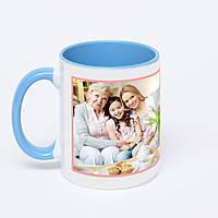 Печать фото на голубой чашке с голубой ручкой (голубая внутри)