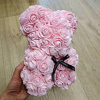 Мишка из искусственных 3D роз 25 см розовый в подарочной коробке лучший подарок, фото 1