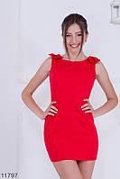 Витончене і лаконічне приталене плаття футляр з бантами на плечах Paris RED, S