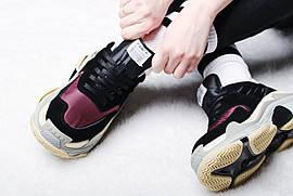 "Кроссовки женские Balenciaga Triple S 2.0 ""Black/Bordeaux"" / NR-BLC-003 (Реплика)"