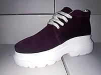 Женские замшевые ботинки бордовые демисезонные на платформе 36 - 41 размеры