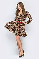 Платье леопардовое с красным ремешком