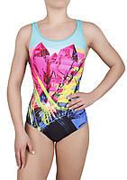 Купальник спортивный женский для плавания Rivage Line 8728, бирюзово-черный