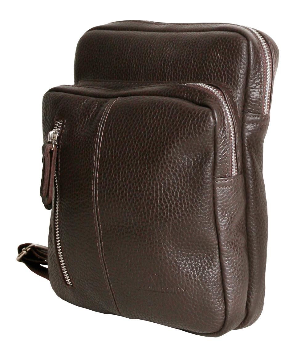 c027ee5b8ed1 Мужская сумка-мессенджер кожаная Vip Collection 1447-F Коричневая - ТОВ