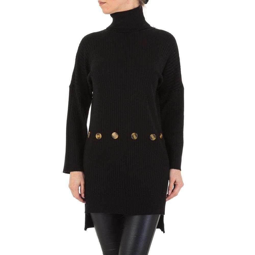Женский свитер туника оверсайз с удлиненной спинкой Shk Paris (Франция), Черный