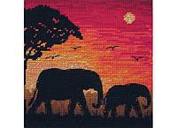 """Набір для вишивання """"Силует слонів(Elephant Silhouette)"""" ANCHOR MAIA"""
