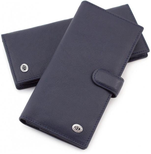 Купюрник чоловічий шкіряний з натуральної шкіри в синьому кольорі вертикальному стилі ST147 Black