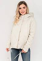 Демисезонная женская стильная куртка свободного кроя на силиконе Modniy Oazis бежевая 90144/2, фото 1