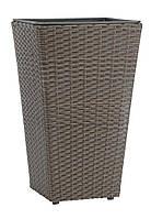Горшок садовый коричневый (искусственный ротанг) высота 50см , фото 1
