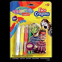 Карандаши для лица Colorino 5 стандартных цветов в упаковке не пачкают руки детская косметика