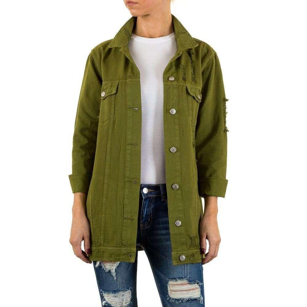 Рваная джинсовая куртка хаки оверсайз Shk Mode (Франция) Хаки