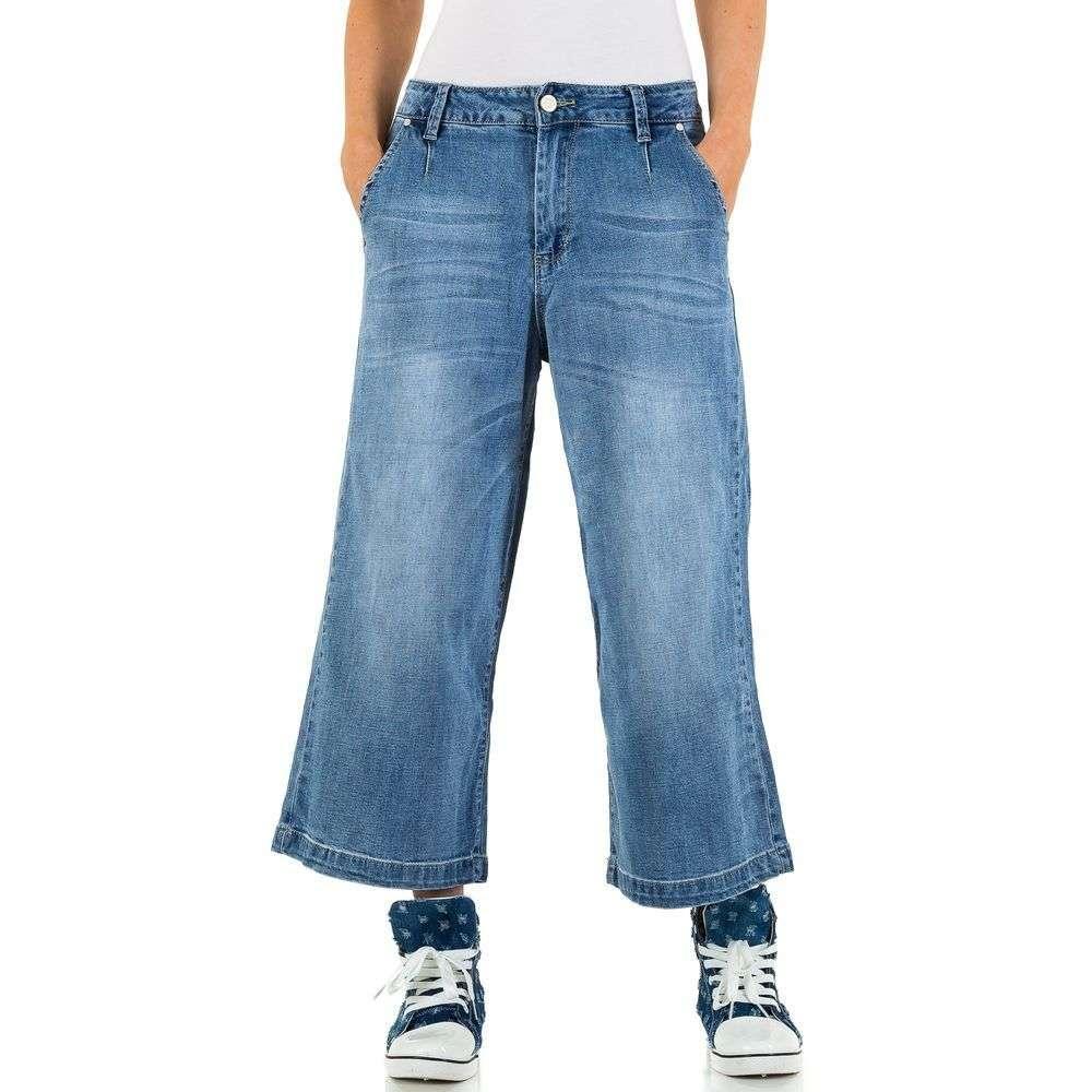 Широкие женские джинсовые кюлоты от бренда Simply Chic (США) Синий