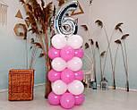 """Композиція з повітряних кульок """"Стійка з цифрою """"6"""" (біло-рожевий), фото 3"""