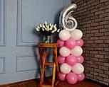 """Композиція з повітряних кульок """"Стійка з цифрою """"6"""" (біло-рожевий), фото 4"""
