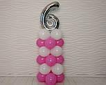 """Композиція з повітряних кульок """"Стійка з цифрою """"6"""" (біло-рожевий), фото 6"""