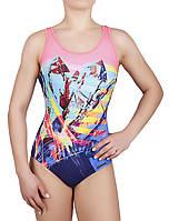 Купальник спортивный женский для плавания Rivage Line 8728, розово-синий