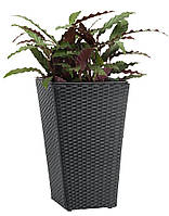 Горшок садовый черный (искусственный ротанг) высота 50см , фото 1