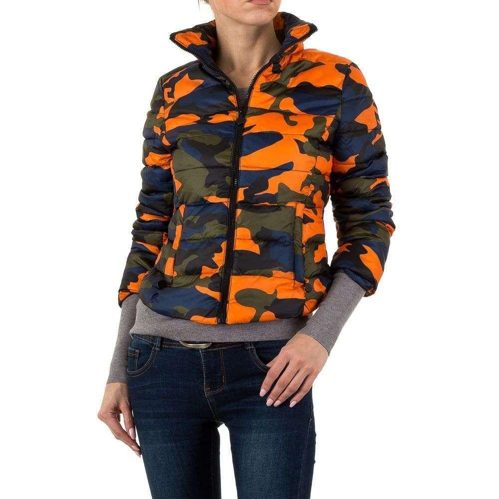 Куртка стеганая женская утепленная (Европа), Камуфляжный/Оранжевый