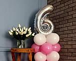 """Композиция с воздушных шариков """"Стойка с цифрой """"6"""" Насос в комплекте, фото 5"""