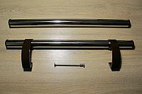 """Ручка дверная """"Труба"""" нержавеющая + коричневый кронштейн"""