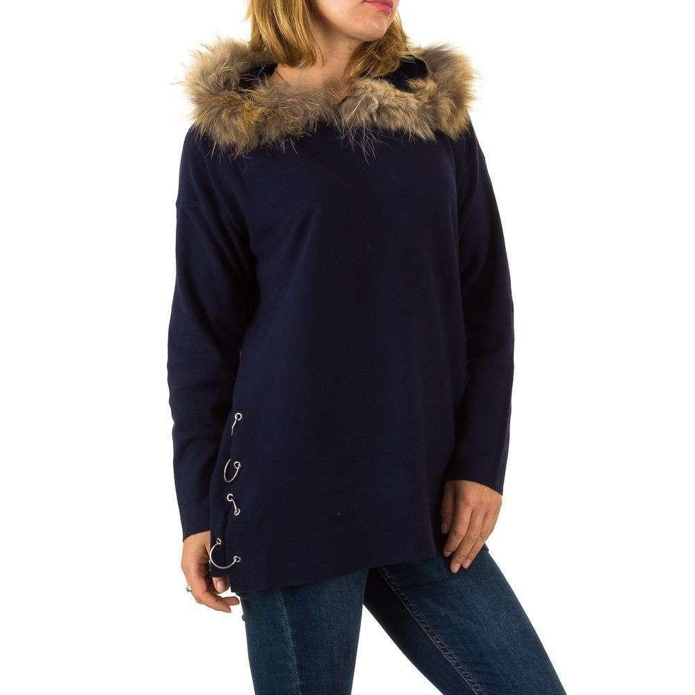Женский джемпер оверсайз с мехом и капюшоном (Европа), Темно-синий
