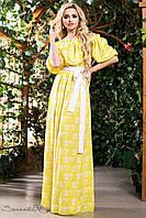 💧️ПлКрасивое желтое платье в пол с белым узором / Размер S-M L-XL XXL-3XL / P11А6В1 - 1395