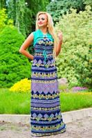 💧️Сине-зеленое платья с ярким и необычный орнаментом / Размер 44-46 52-54/ P11А6В1 - 1360