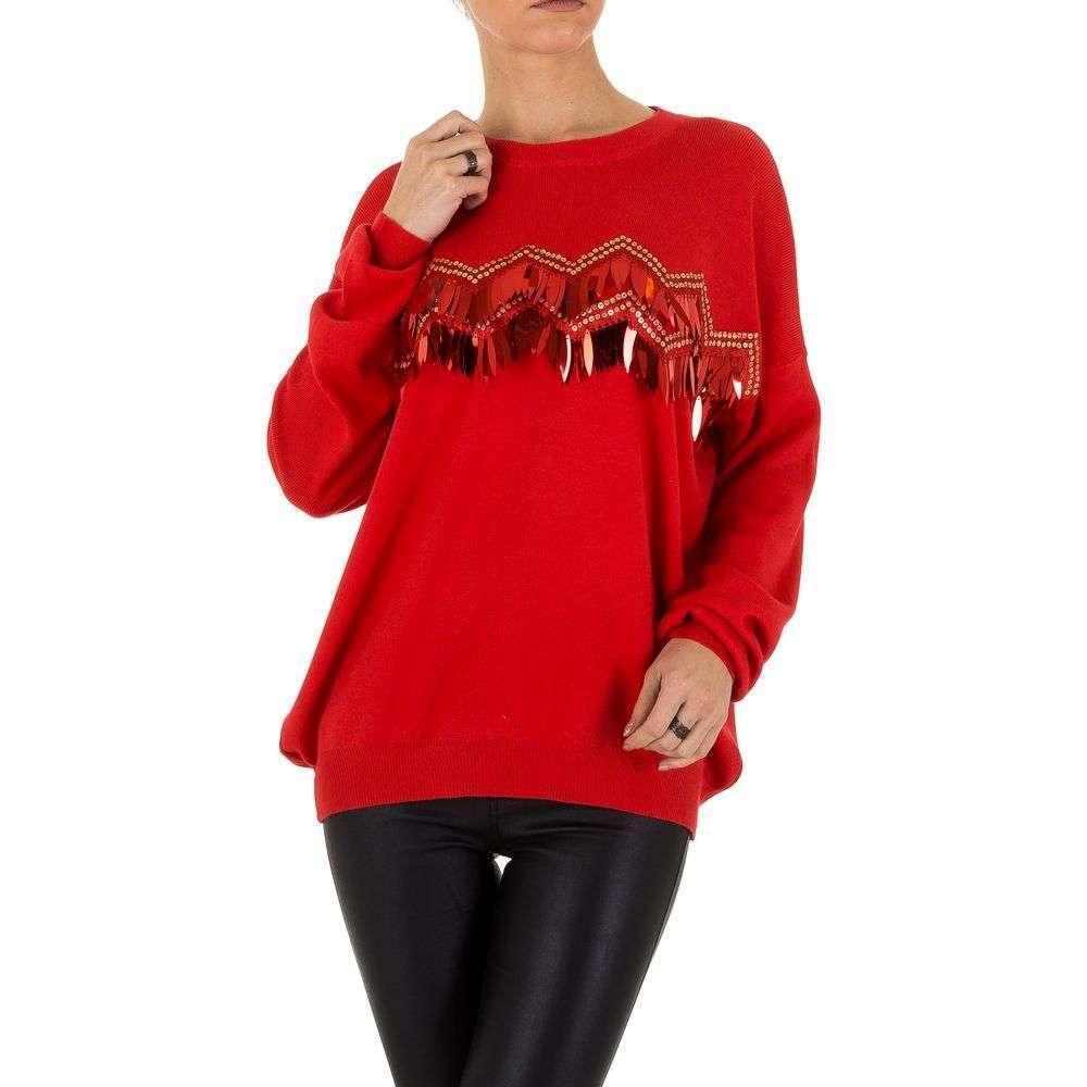 Женский джемпер с пайетками и бахромой спереди (Европа), Красный