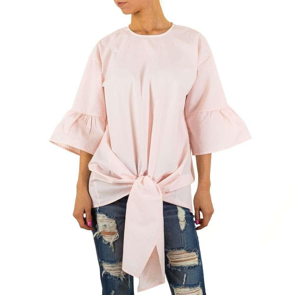Женская удлиненная блузка с завязками спереди  (Европа) Розовый