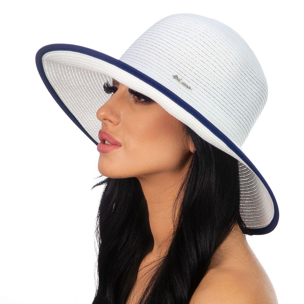 Женская шляпа средние поля цвет белый с чёрной и синей окантовкой
