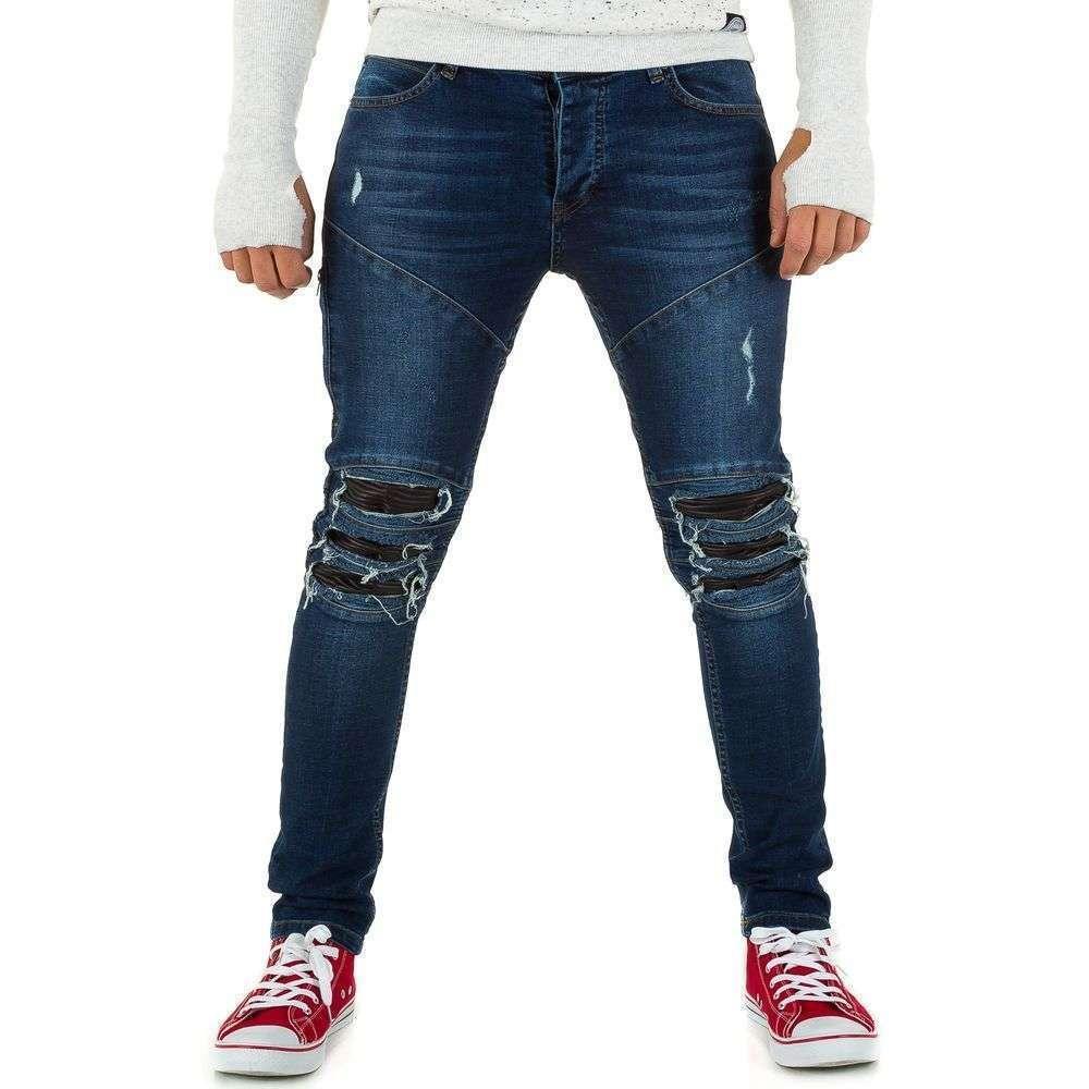Джинсы мужские с рваными коленями и экокожей Uniplay (Европа), Синий
