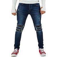 b134130770e Джинсы мужские с рваными коленями и экокожей Uniplay (Европа)