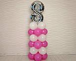 """Композиция с воздушных шариков """"Стойка с цифрой """"8"""" (бело-розовая), фото 5"""