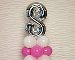 """Композиция с воздушных шариков """"Стойка с цифрой """"8"""" (бело-розовая), фото 7"""