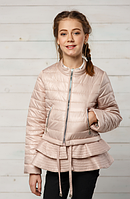 Короткая весенняя куртка с рюшем для девочки «Инесс» ТМ MANIFIK