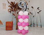 """Композиция с воздушных шариков """"Стойка с цифрой """"9"""" (бело-розовая), фото 7"""