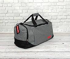 Спортивная сумка суприм, Supreme. Дорожная. Для тренировок. Серая с черным, фото 2