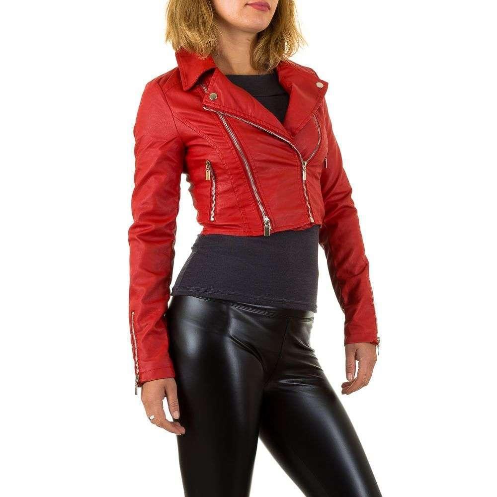 Короткая куртка косуха женская с молниями из экокожи (Европа), Красный