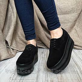 Туфли слипоны женские на высокой платформе чёрно цвета из замши