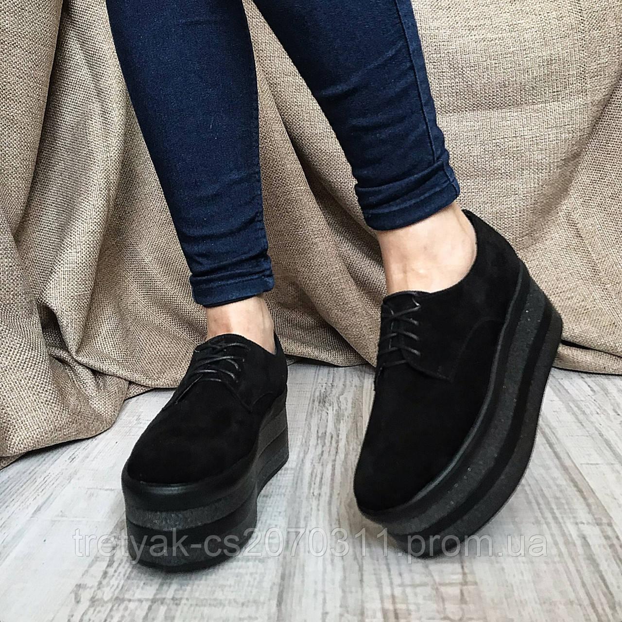 0a4ab9e2e Туфли слипоны женские на высокой платформе чёрно цвета из замши - КРОК в  Харькове