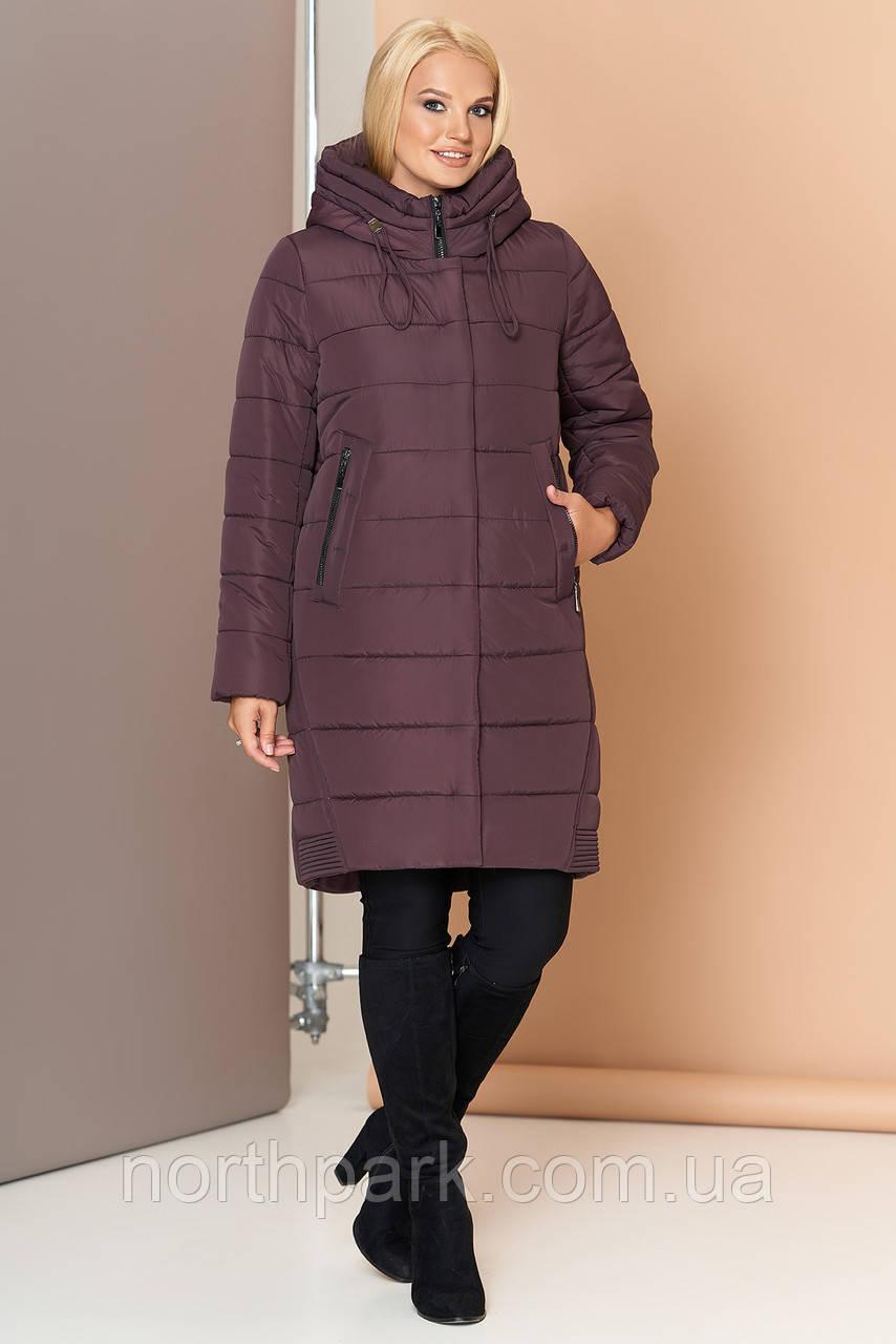 Длинная зимняя женская куртка VS 184, шоколад