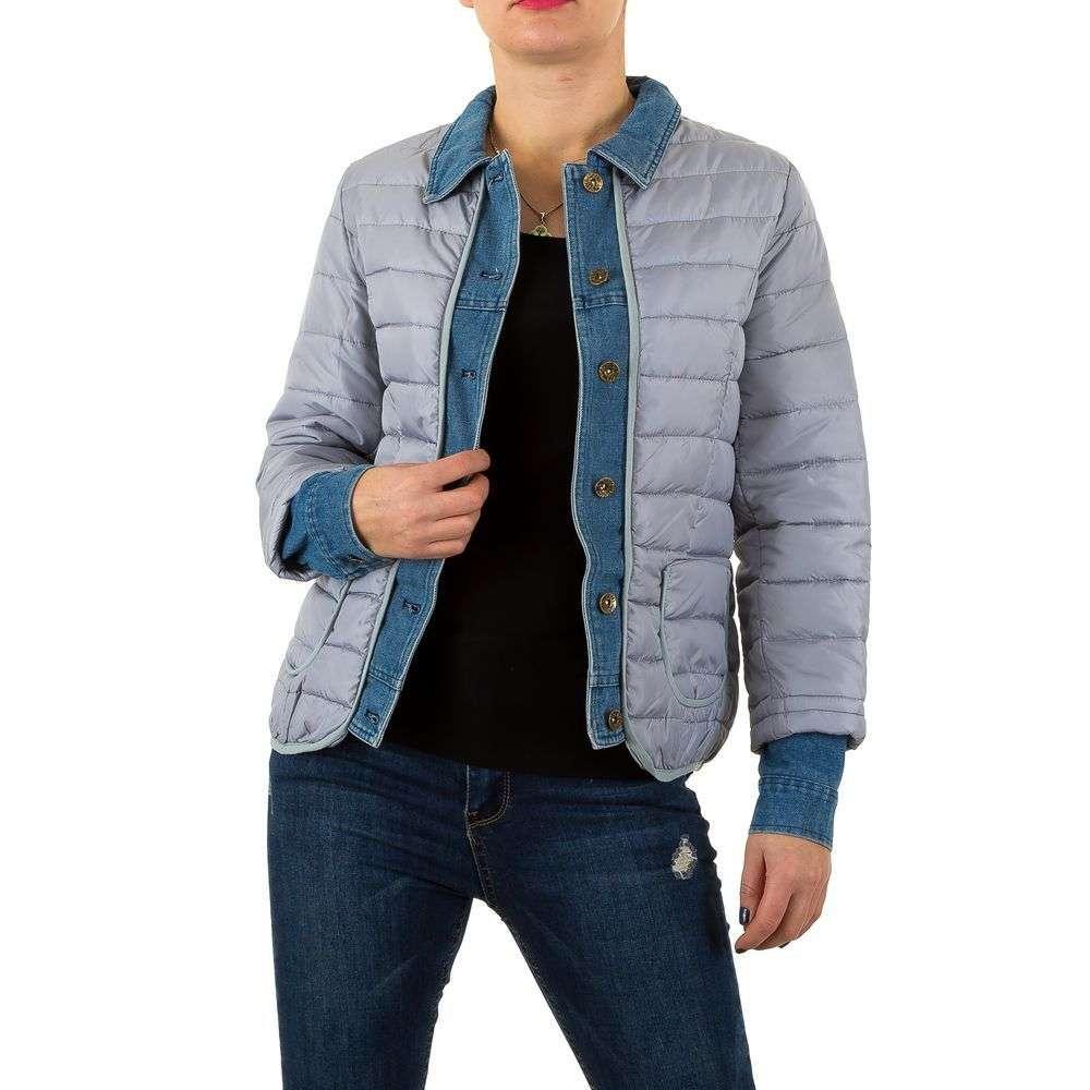 Стеганая женская куртка комбинированная с джинсой (Европа), Серый