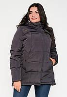 Жіноча зимова куртка-парку великих розмірів на подвійному силіконі Modniy Oazis сірий 90188/1, фото 1