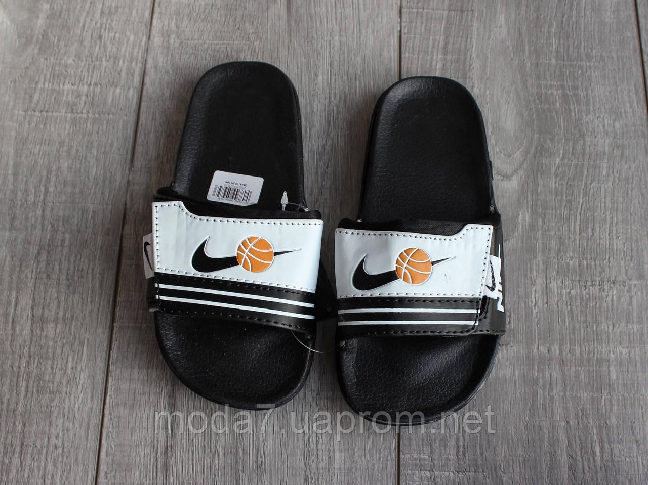 Шлепки детские Nike на мальчика черные реплика