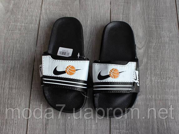 Шлепки детские Nike на мальчика черные реплика, фото 2